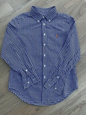 Boys Ralph Lauren Shirt Navy & White  Check Gingham Button Down. Age 10-12 (M) • 2.99£