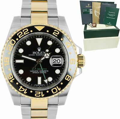 $ CDN17366.72 • Buy MINT Rolex GMT-Master II Ceramic Black Two-Tone Gold 40mm Watch FULL SET 116713