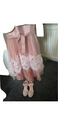 monsoon Blossom Rose High Low Dress Age 4 Pink Includes Cardi And Size 8 Shoes • 25£