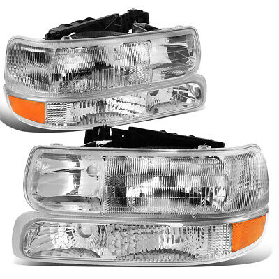 $71.95 • Buy For 1999-2006 Silverado Suburban Tahoe 4PCs Chrome Clear Headlights Bumper Lamps