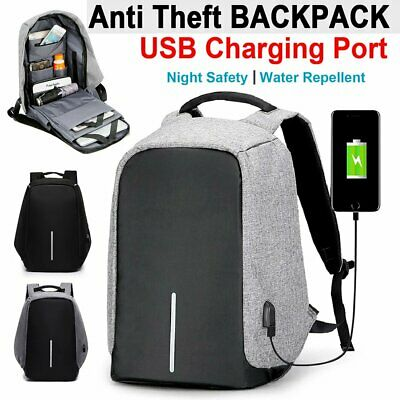 AU15.59 • Buy Anti-Theft Backpack School Travel Laptop Bag With USB Charging Port Waterproof