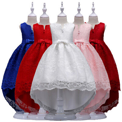 Kids Flower Girls Bridesmaid High Low Dress Pageant Prom Party Long Gown 2-13Y • 17.09£
