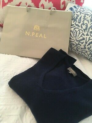 New N Peal Navy Cashmere V Neck Jumper Sweater - Xs RRP £159 • 65£