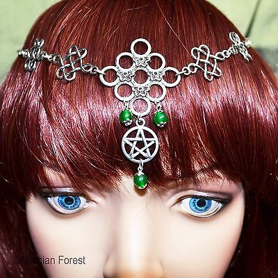 Celtic Knot And Pentacle Aventurine Headdress - Pagan Jewellery, Wiccan, Witch • 15£