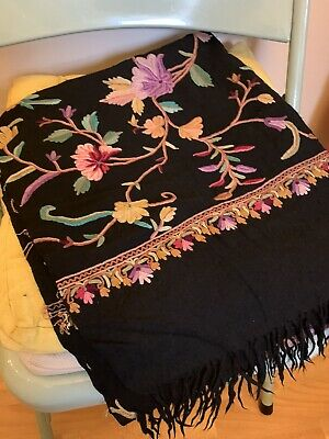 £60 • Buy Stunning Vintage Black Embroidered Indian Wool Scarf Shawl