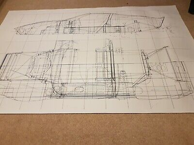 Ford GT40 Large See Thought Drawing Of All Major Chassis Components AO Size • 30£
