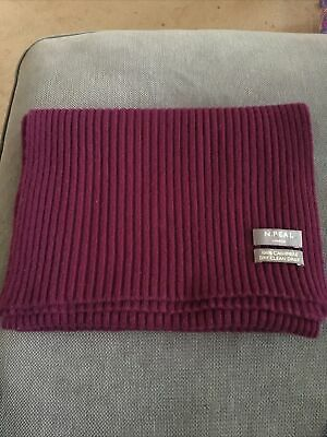 N.Peal Damson 100% Cashmere Ribbed Knit Scarf • 15£
