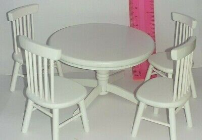 Circular White Table & Chairs Dolls House Furniture 1/12th Kitchen  • 2.20£