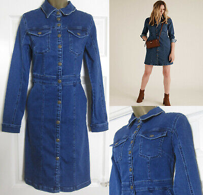 NEW M&S Ladies Holly Willoughby Denim Mini Shirt Dress Indigo RRP £49 Size 6-22 • 23.95£