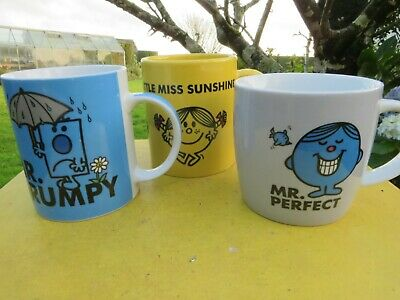 MR. MEN-MR. GRUMPY / LITTLE MISS SUNSHINE /MR PERFECT Mugs X 3 Roger Hargreaves • 19.95£