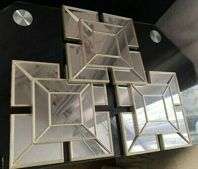 £17.50 • Buy Set Of 3 Square Gold Mirrors 25cm Champagne Decorative Wall Decor New