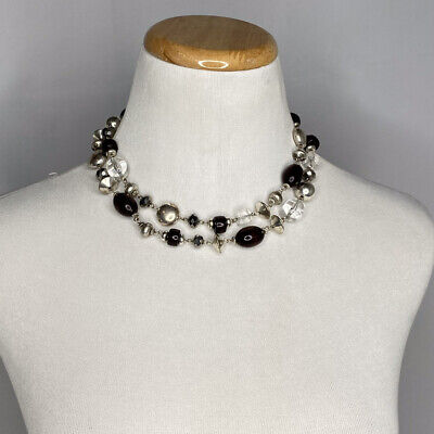 $ CDN4.01 • Buy Lia Sophia Silver Gray 2 Strand Beaded Necklace 2 Necklaces Brown Leather