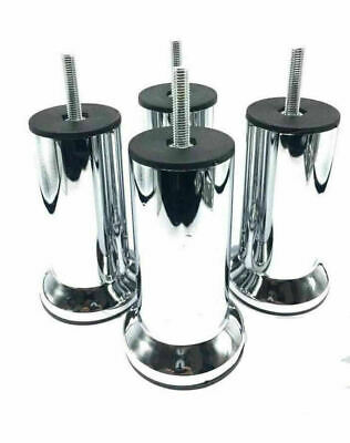 4x METAL CHROME LEGS FURNITURE FEET SOFA BEDS CHAIRS STOOLS CABINET 120mm HEIGHT • 10.99£