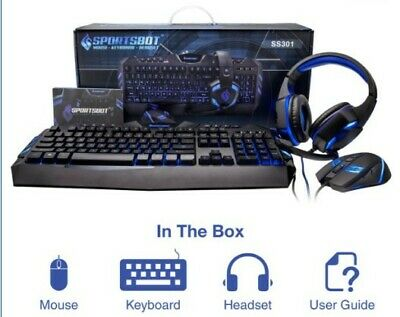 AU105 • Buy Blue LED Gaming Headset, Mouse And Keyboard Combo