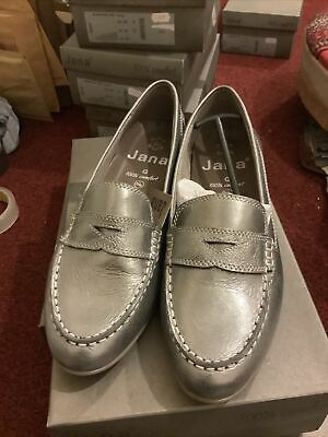 Jana 100% Comfort Shoes Size 6 -Slip On Loafer-Leather-Pewter/Silver-Box & Tags • 16.90£