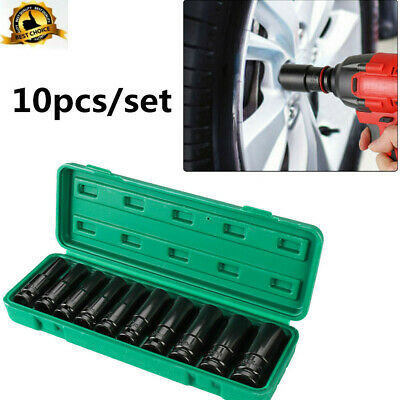 10pc Deep Impact Socket Set 1/2  Drive Long Reach Metric Sockets 6 Point 10-24mm • 9.99£