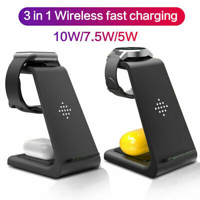 3 In1 Qi Fast Wireless Charger Dock Stand For IPhone Samsung IWatch Galaxy Watch • 22.99£