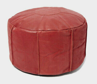 Red Leather Filled Pouffe MOROCCAN STYLE Footstool / Beanbag *Genuine Leather* • 29.99£