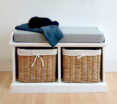Tetbury White Hallway Bench With 2 Storage Baskets And Grey Cushion ASSEMBLED • 135.99£