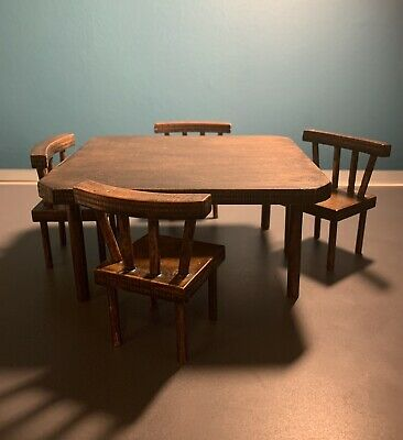 1:12 Scale Dolls House Furniture Large Vintage Square Kitchen Table & Chairs • 29.95£