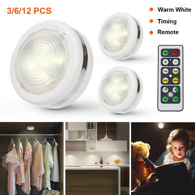 3/6/12 Timer Dimmable LED Under Cabinet Light Kitchen Cupboard Closet Puck Lamp • 7.99£