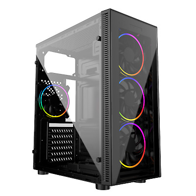PC COMPUTER CASE ATX M/ATX GAMING TEMPERED GLASS 3 DUAL RING ARGB FAN IONZ KZ02  • 41.95£