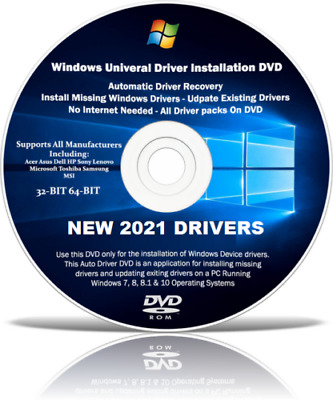 Drivers Pack Disc For Dell Computers Windows 10 8 7 Vista XP 32/64 Bit • 3.95£