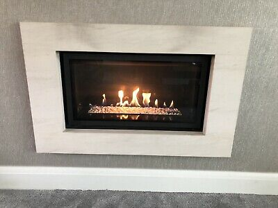Gazco Studio Glass Fronted Gas Fire Black Glass Interior/Frame+Surround & Remote • 650£