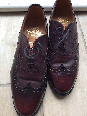 Sanders Mens Shoes Brogues Burgundy Size 8 Leather Made In England • 25£