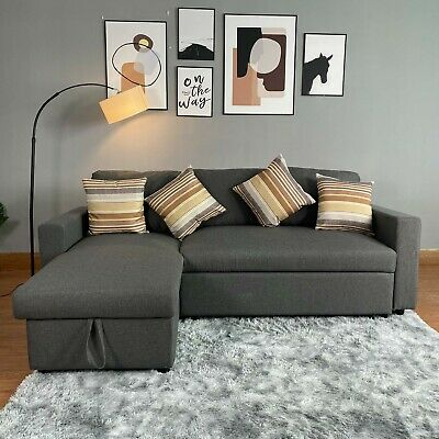 Corner Sofa Bed  L Shaped Reagan Grey, With Hidden Storage And Reversible Chai • 479£