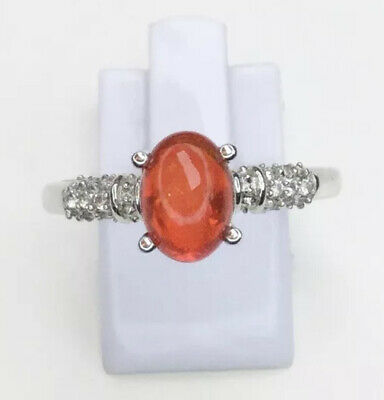 Fire Opal & Topaz Gemstone Ring, Size U, Gems Tv/ Gemporia • 35£
