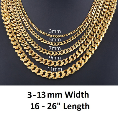 *UK Shop* GOLD STAINLESS STEEL 316L 3-11MM 16-26  MENS CURB CHAIN NECKLACE MAN • 4.99£