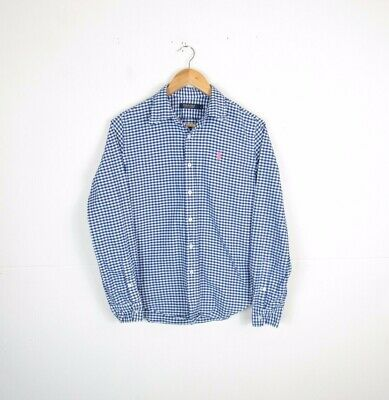 Woman's RALPH LAUREN Blue White Check FITTED Thick SHIRT / BLOUSE Size UK 8 • 0.99£