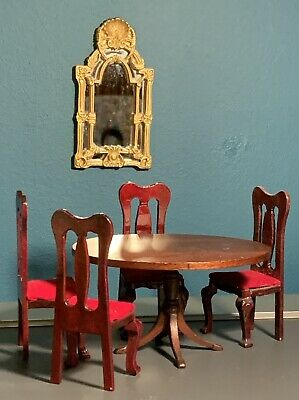 1:12 Scale Dolls House Furniture Miniatures- Dining Room Table & 4 Chairs • 10£