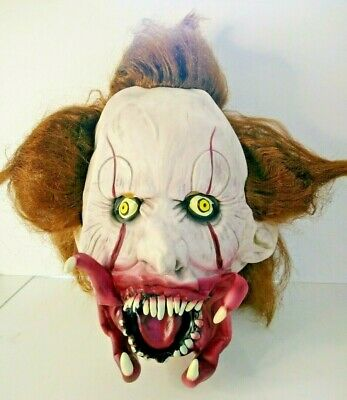 $15.25 • Buy Scary Evil Clown Zombie Mask Wig Halloween Horror Latex Dress Adult Costume