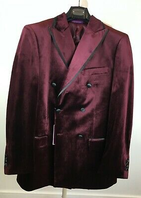 $ CDN291.17 • Buy Designer Men's Velveteen 2 Pc Tuxedo Suit Maroon Wine Pleated Pant 38R 32 W NWT