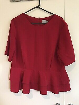 AU14 • Buy Ladies ASOS Red Peplum Ruffle Blouse Size 18 Fuller Bust Smart Top With Sleeves