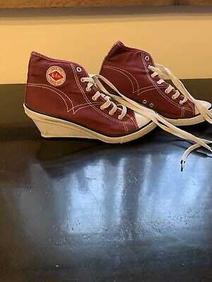 Lee Cooper Burgundy Canvas Wedge Shoes Plimsolls Trainers - Size UK 6 • 25£