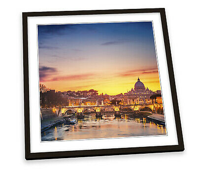 £25.99 • Buy St Peters Cathedral Rome Sunset Italy FRAMED ART PRINT Picture Square Artwork