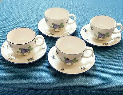 Royal Doulton  Everyday *blueberry* Four Cups+saucers  #excellent Used#  • 19.50£