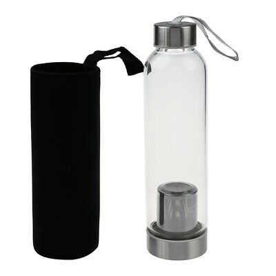 Tea Filter Infuser Tumbler Hot Glass Sport Water Bottle Travel 550 Ml With Bag • 16.24£