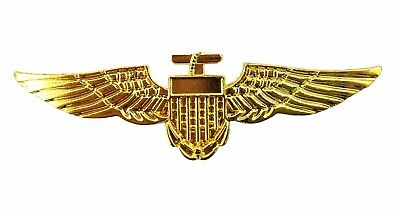Aviator Gold Pilot Airline Wings Badge Pin Stag Do Top Gun Fancy Dress Accessory • 1.99£