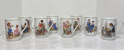 $ CDN30.44 • Buy Set Of 8 Vintage Norman Rockwell Gold Trim Mug Cup Museum Collection 1982