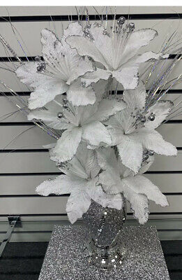 Stunning 30cm Silver Bling Romany Mirror Shine Vase With 6 White/silver Flowers • 29.99£