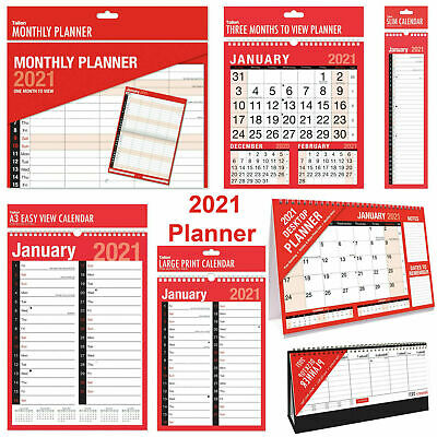 2021 Year Planner Calendar Month To View Slim Large Extra Large Desk View Diary • 2.99£