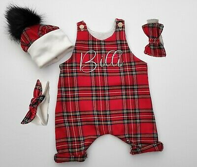 Personalised Red 'Stewart' Tartan Print Romper Or Outfit For Baby. Perfect Gift. • 16.99£