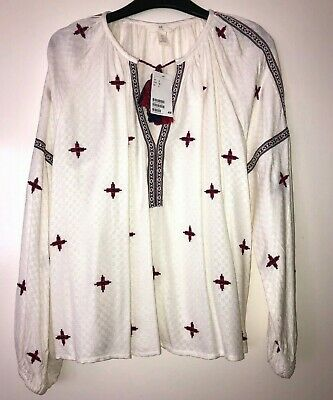 £6.99 • Buy H&m Logg Embroidered Aztec Boho Smock Blouse Top Size 6 Bnwt