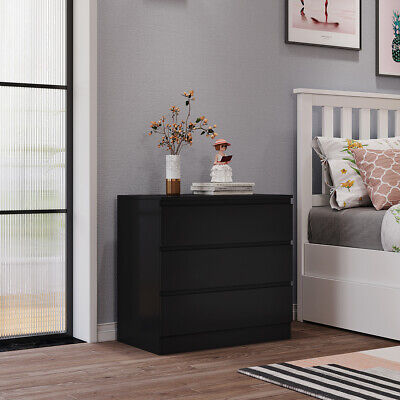 £33.99 • Buy Chest Of Drawers Black Bedroom Furniture Hallway Tall Wide Storage 3 Draws UK