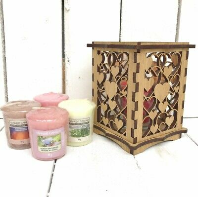 Wood Yankee Candle Scented Gift Set With Love Heart & Glass Votive Holder • 19.99£
