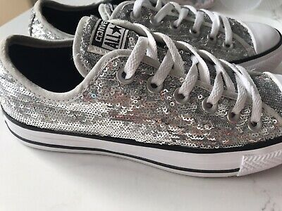 Converse Silver Sequin Size 5 38 New In Box • 39£